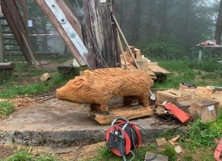 Motorsägenkunst - Neue Wildschweine aus Holz im Wald
