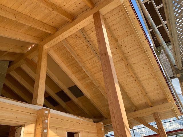 Massivholzhaus - Blockhaus -  Dachstuhl