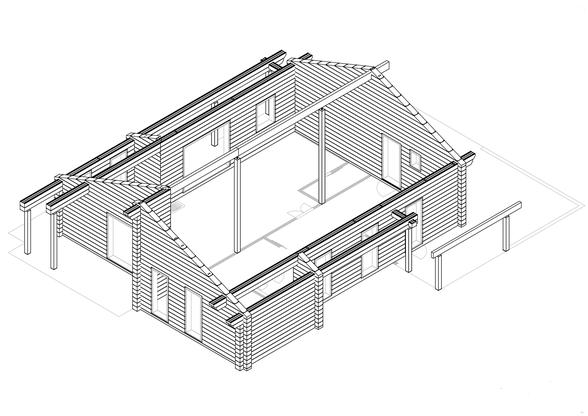 Blockhausbau - Finnisches Holzhaus in Blockbauweise - Werkplanung