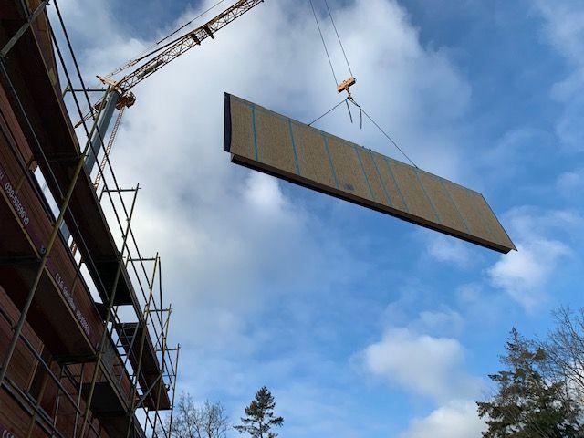 Holzbau Brandt - Holzfertighaus - Die Montage der Wandelemente in Berlin beginnt