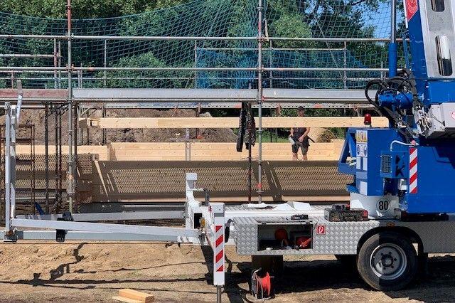 Baustelle in Mecklenburg - Montagestand am Ende des ersten Tages - Holzbau Brandt
