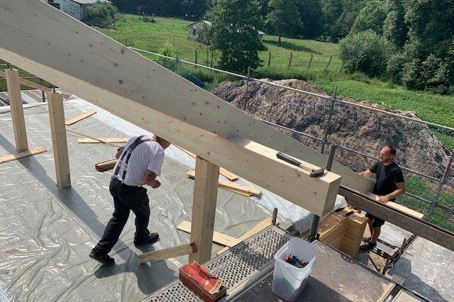 Holzbau Brandt - Dachkonstruktion - Blockhausbau -  Einfamilienhaus - Wohnhaus - Baustelle